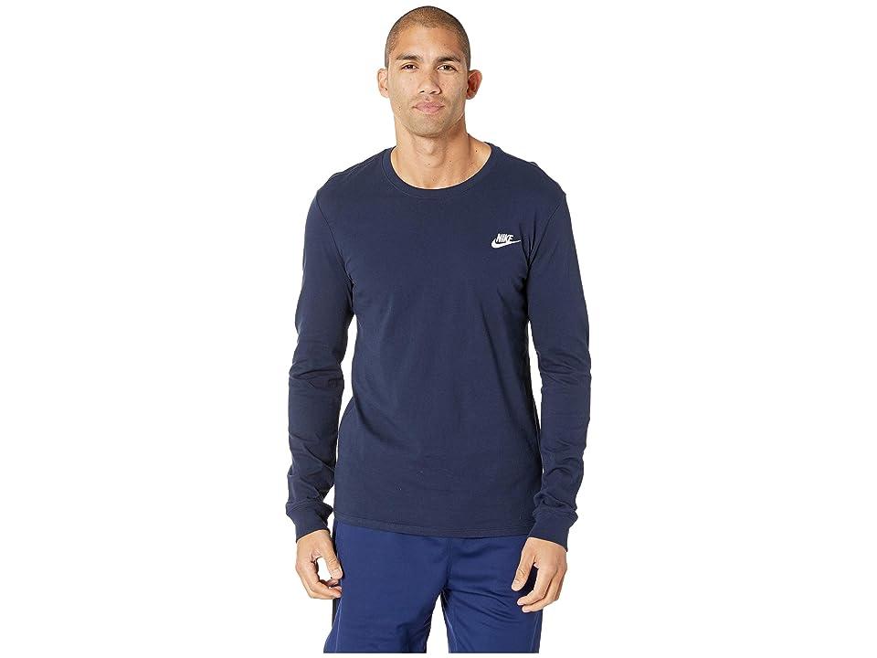 Nike NSW Tee Long Sleeve Embroided Futura (Obsidian/White) Men