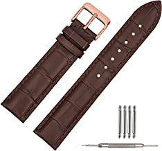 TStrap Leather Watch Bands 20mm Brown Replacement Watch Strap Rose Gold Watch Clasp Buckle(18mm 20mm 22mm)