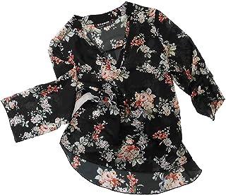 花柄プリント シャツブラウス 黒 フラワープリント ロールアップ 7分丈 スリーブ