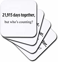 3dRose CST_112219_3 21915 Days Together, Who's Counting Happy 60th Anniversary-Ceramic Tile Coasters, Set of 4