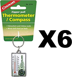 Coghlan's Zipper Pull Thermometer Fahrenheit/Celsius Compass, Windchill (6-Pack)