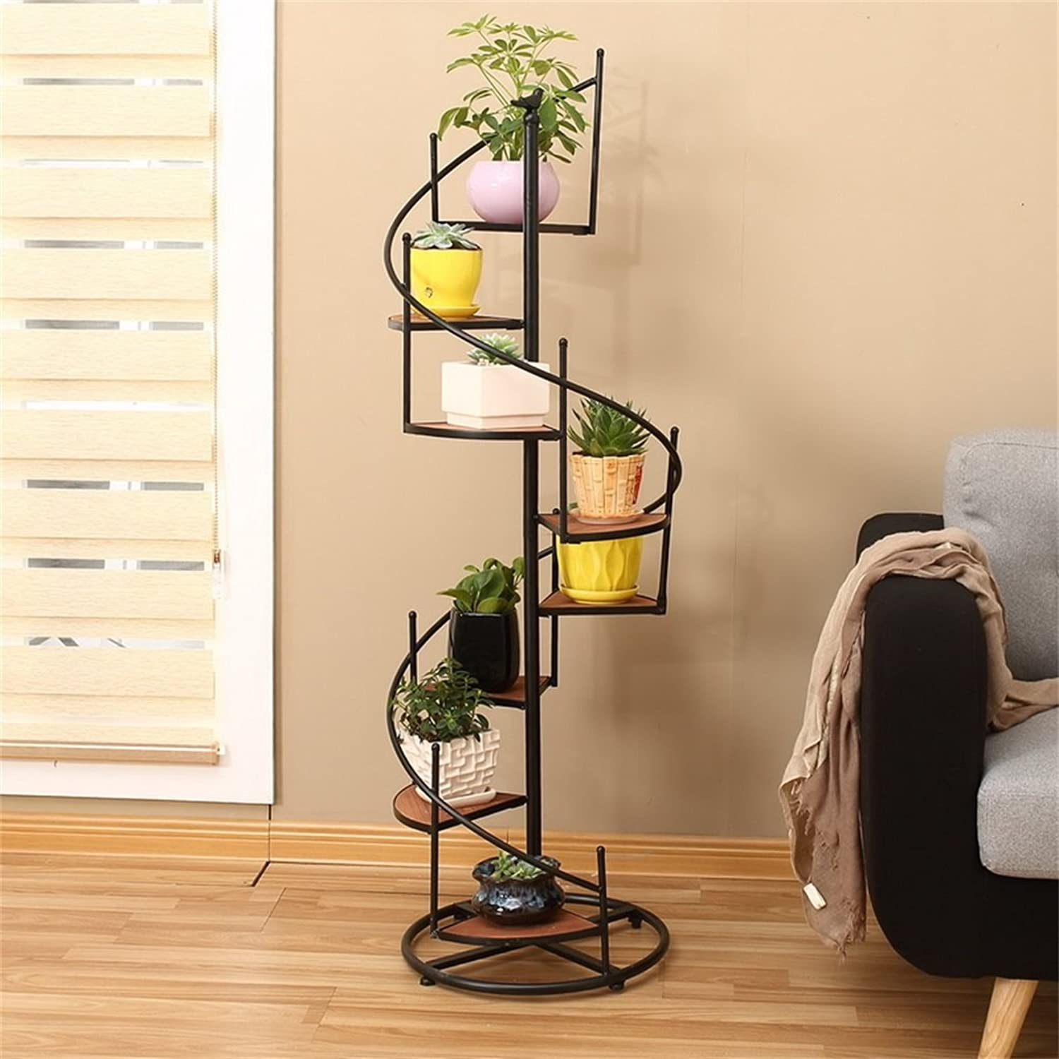 NYDZDM Retro Iron and Solid Wood Multilayer Floor Flower Pot Stand for Balcony Living Room Stairs Corner Shelf Can Accommodate 8 Flower Pots (Size   23  9  55cm)