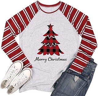 UNIQUEONE Merry Christmas Tshirt for Women Plaid Christmas Trees Print T-Shirt Stripe Splicing Long Sleeve Baseball Tee Tops