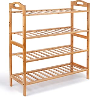 Lukzer 4 Layer Multi-Purpose Wooden Bamboo Shoe Organizer Rack Storage Shelf 66 x 66 x 24 cm