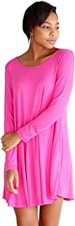 Piko - Women's Bamboo Long Sleeve Trapeze Dress, Casual Plain Simple T-Shirt Fit with Pockets - 11 Colors Available