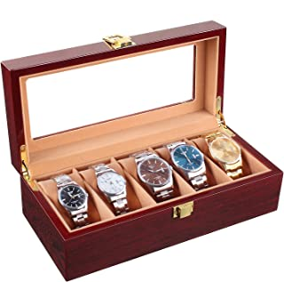 Homfa Wooden Watch Box 5 Slots Watch Display Storage Organizer Case Glass Top with Metal Lock, Cherry