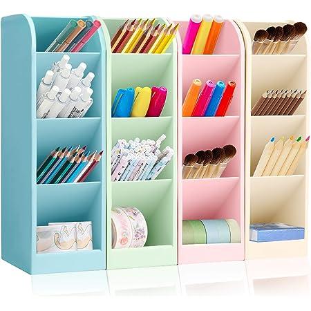 4 Pcs Multifonction Papeterie Porte-Stylo, Organisateur de Bureau Enfant, Organisateur de Stylo, Support de Stockage de Stylo, Boîte de Rangement de Bureau,Pot à Crayons (4 pièce-A)