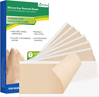 Scar Removal Sheet, Maybeau 7 PCS (7 Month Supply) Medical Silicone Scar Patch for on Keloid Surgery Injury Burns Acne C-Section Scars and More with Big Size (5.9