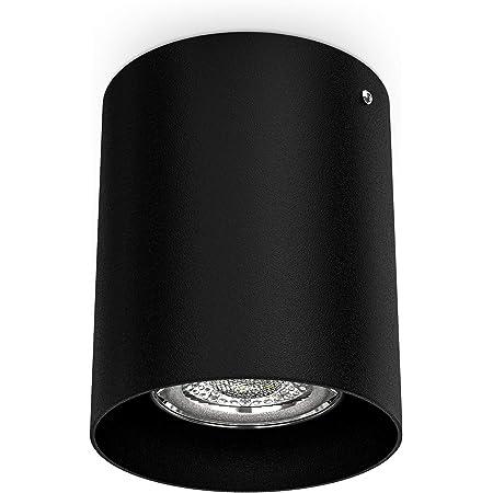 B.K.Licht spot en saillie rond, Ø 80mm, douille GU10 pour ampoule LED ou halogène de 50W max, spot plafond noir en métal, éclairage plafond moderne, profondeur 95mm, IP20