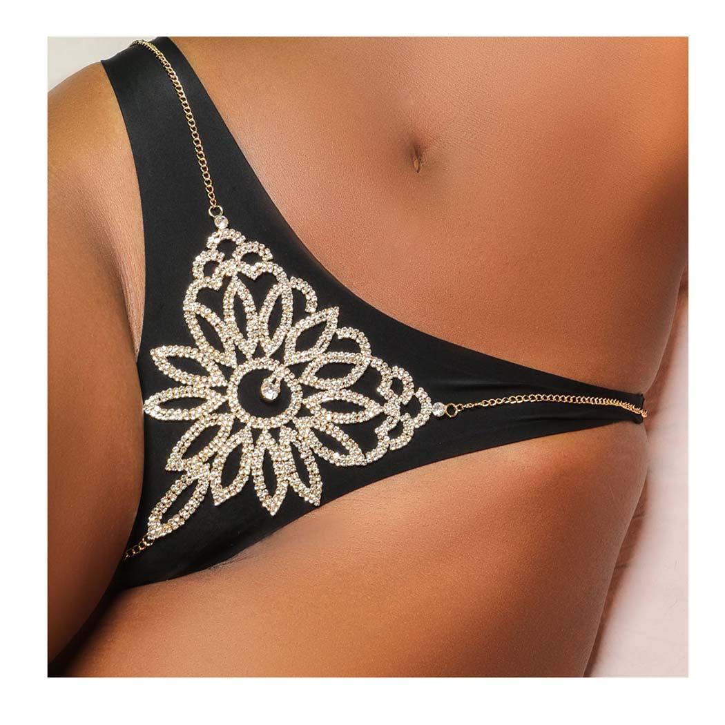 Fstrend Women Sexy Crystal Body Chain Bra Top Body Chain Sparkly Rhinestone Clubwear Bikini Shinny Jewelry Accessories for Women and Girls (Panties)