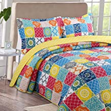 Colorful Stitching Bedspread, Cotton Patchwork Quilted Quilt for Summer, Bed Throw with Pillow Sham, 240×260cm