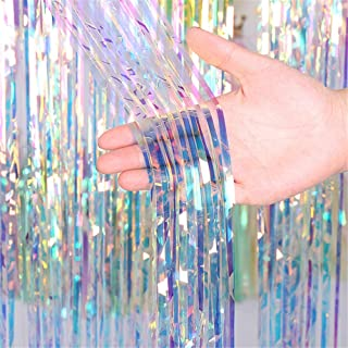 Asunflower Metallic Foil Fringe 6.5Ft Holidays Party Photo Backdrop Multicolor Curtain Door Streamers