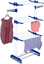 PARASNATH 2 Poll 3 Layer Rack Hanger with Wheels for Drying Clothes(Blue, 3DFT6-97655TV)