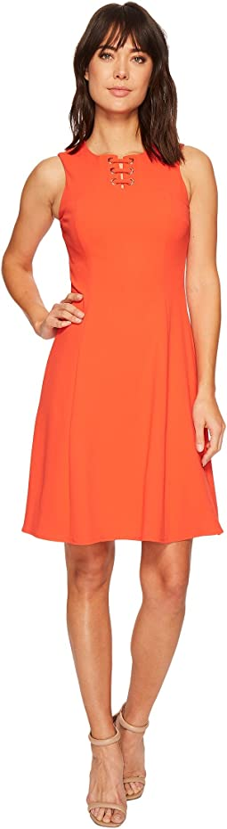 Ivanka Trump - Scuba Crepe Sleeveless Fit and Flare with Hardware