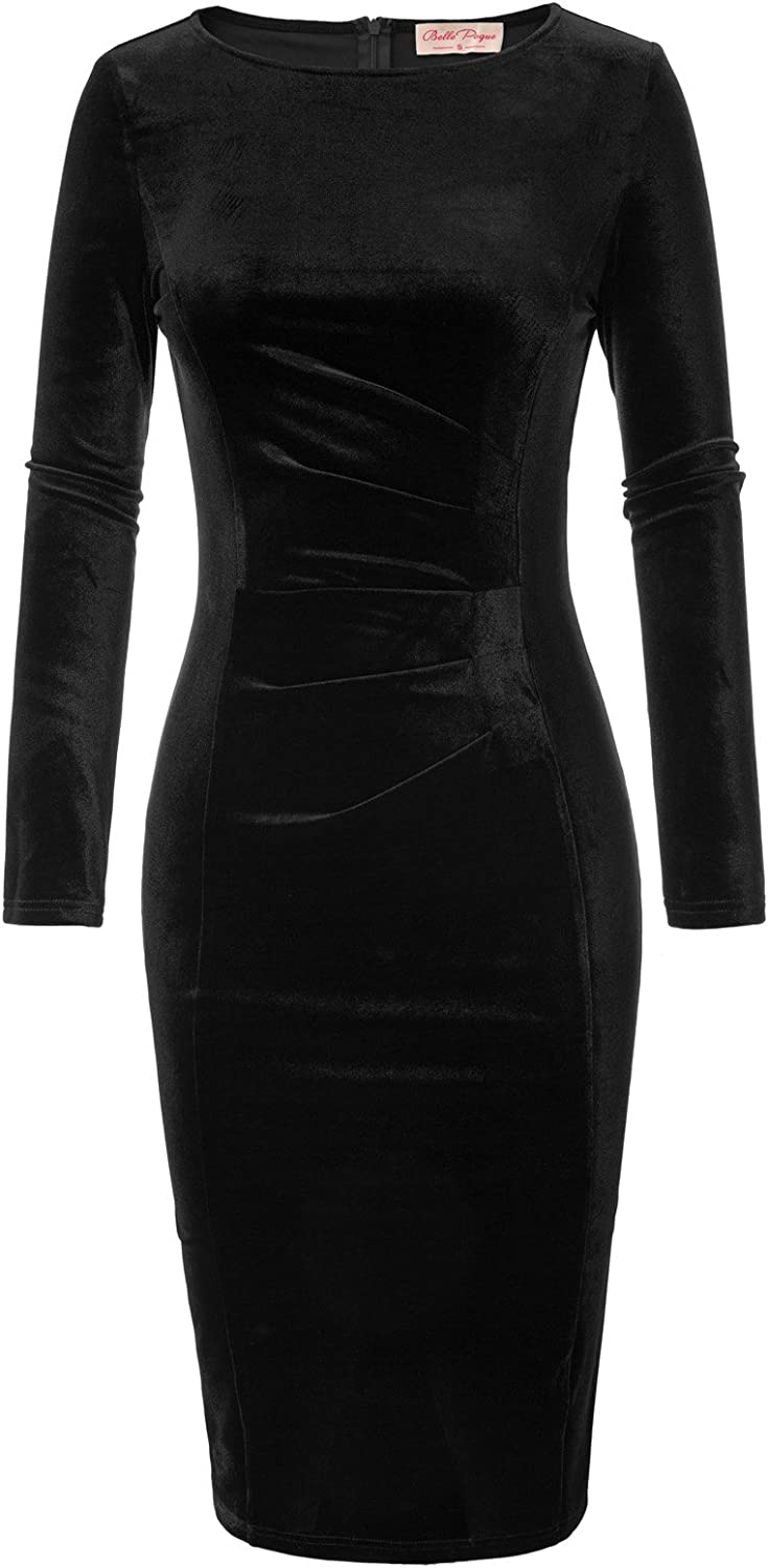 Max 41% OFF Belle Poque Women's Limited price sale Long Sleeve Dress Pleated Stretchy Cocktail