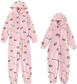 Pijama de forro polar con capucha y orejas de oso de peluche para adultos, mujeres y niñas, madre e hija