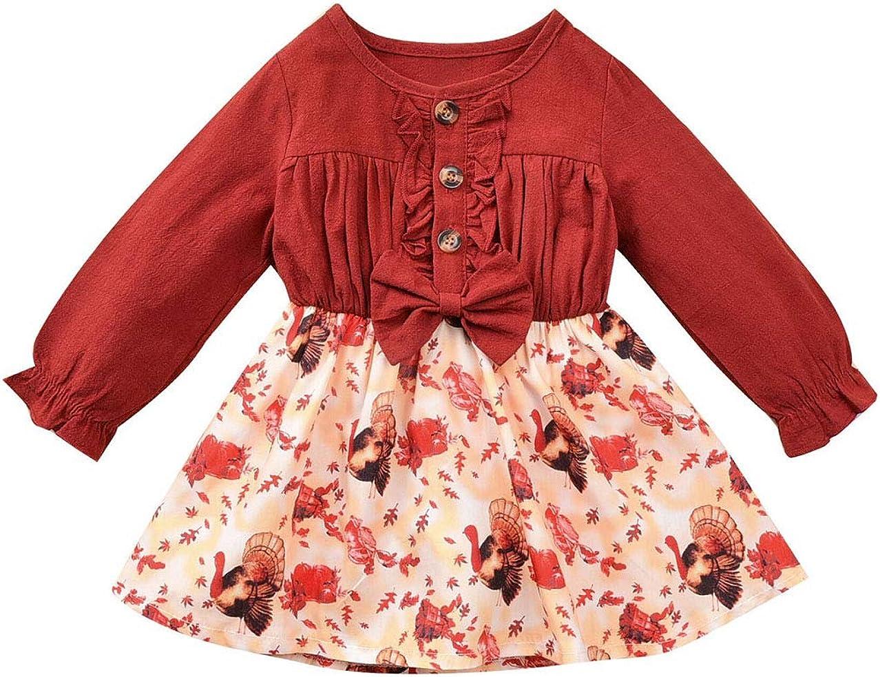 JOJOJUJU Newborn Toddler Baby 40% OFF Cheap Sale Max 87% OFF Girls Thanksgiving Dress Ruffle Lo