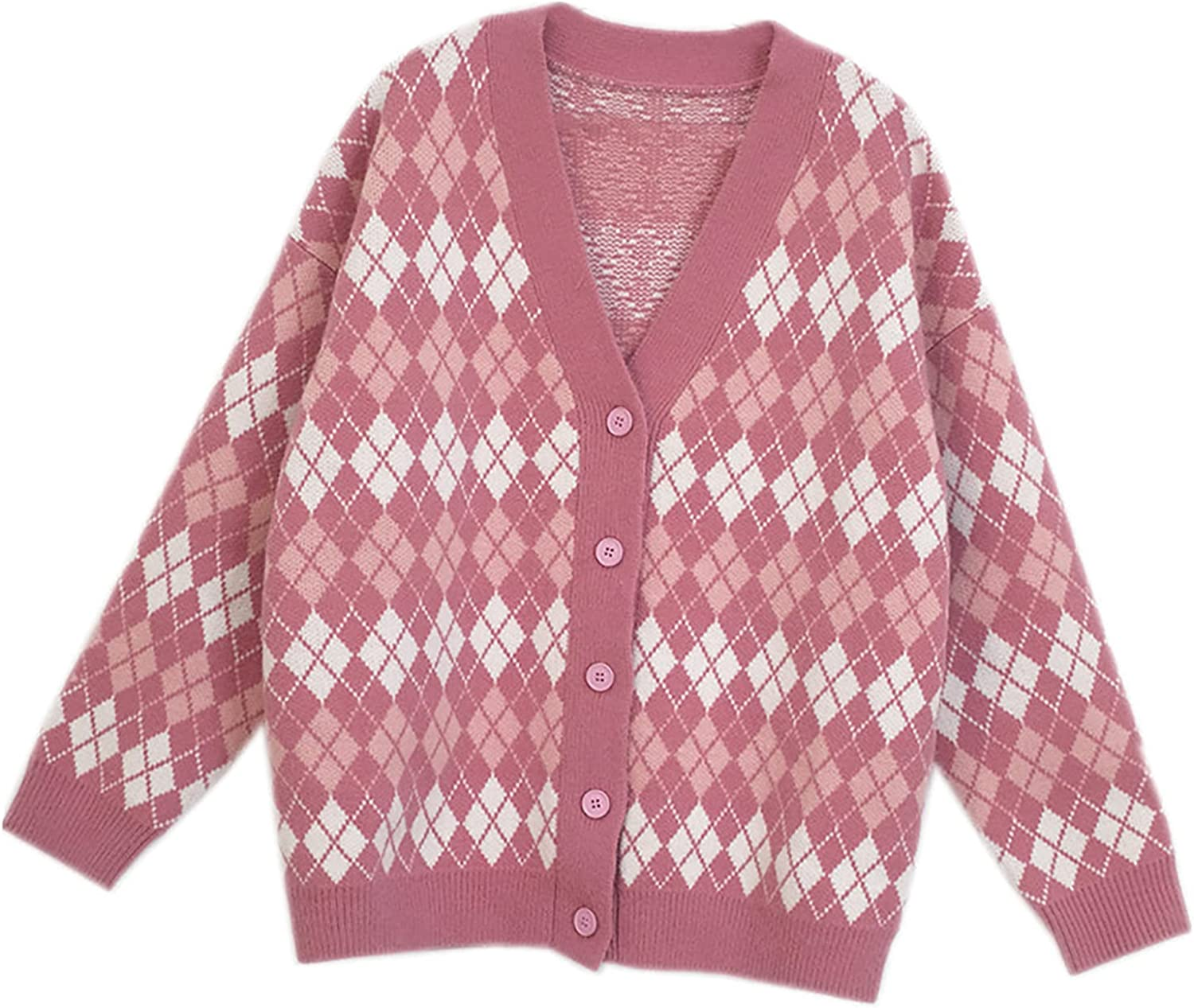 Womens Argyle Knit Cardigan V Neck Long Sleeve Button Down Cute Cardigan Sweater