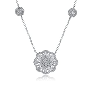 Montage Jewelry Women's Vintage Sterling Silver & Cubic Zirconia Flower Chain Necklace