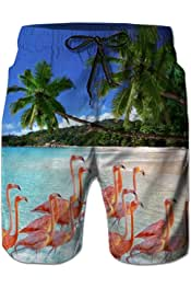 Belovecol Bathing Suits for Teens Boys Juniors Galaxy Casual Surf Board Shorts S