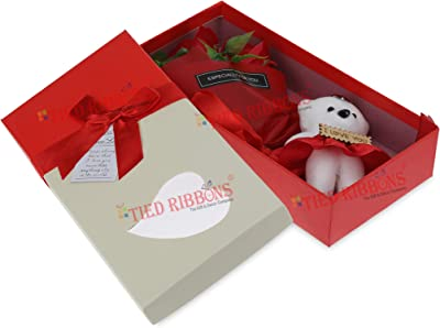 TIED RIBBONS Valentines Day Gift Pack for Wife Girlfriend - Bouquet of Scented Rose Flowers with Mini Teddy (Red)