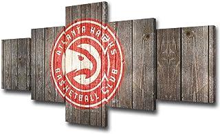 TUMOVO Native American Basketball Wall Decor Atlanta Hawks Paintings NBA Wall Art 5 Piece Canvas Modern Artowrk Home Decor...