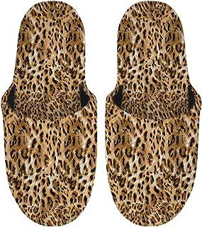 Woisttop - Pantofole da uomo, leggere, antiscivolo, morbide, per interni ed esterni, regalo delicato, (Stampa leopardata.)...