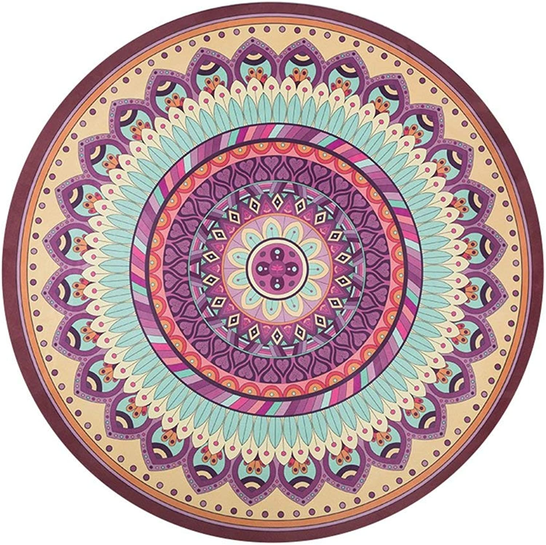 WYJW Runde Yogamatte, rutschfeste runde Meditationsmatte Bewegung Fitness Naturkautschuk Yogamatte Teppich Verdickung 150x150cm (Farbe    3, Gre  1,5 mm dick)