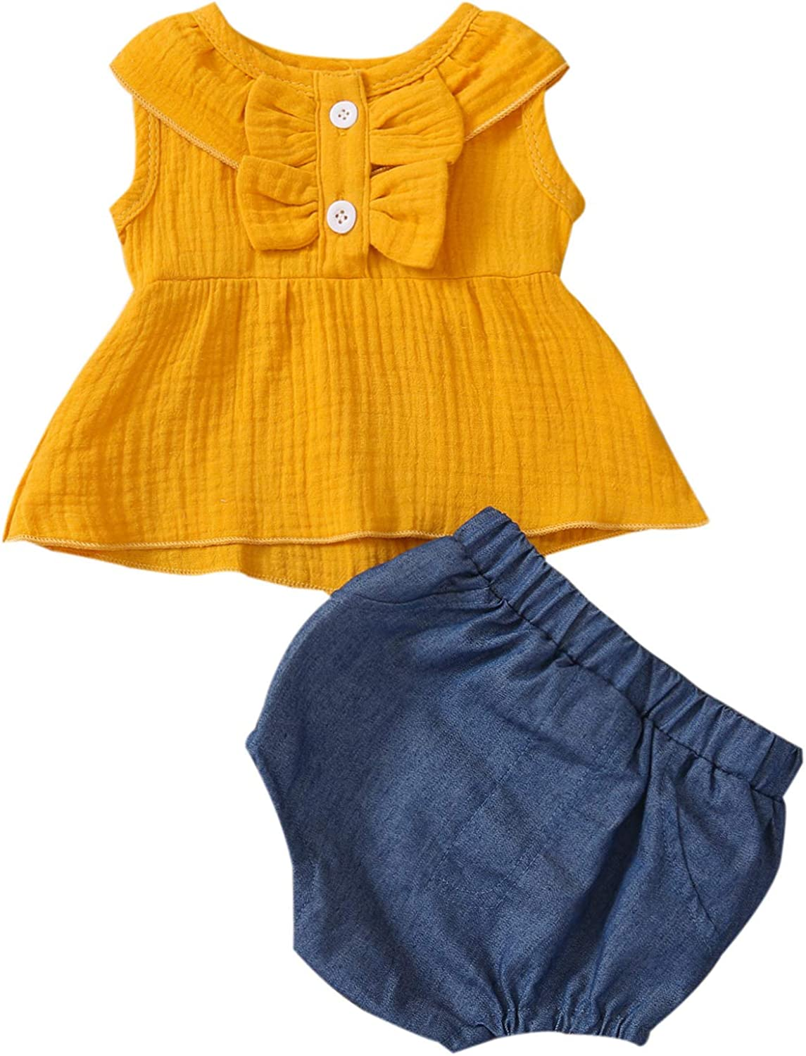 Baby Infant Girl Clothes Sleeveless Tank Top with Denim Shorts Summer Outfits 0-18 Months 6-12 Months