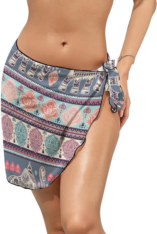 Women Beach Wrap Skirt Chiffon Sarong Pareo Swimsuit Bikini Cover Ups Vintage Indian Mandala Elephant