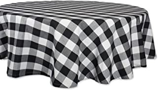 """DII Buffalo Check Collection Classic Tabletop, Tablecloth, 70"""" Round, Black & White"""