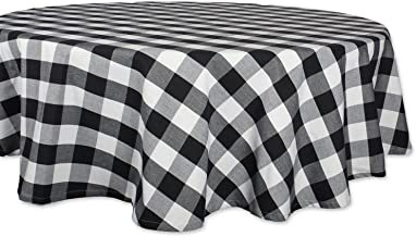"DII Classic Buffalo Check Tabletop Collection for Family Dinners, Special Occasions, Barbeques, Picnics and Everyday Use, 100% Cotton, Machine Washable, Tablecloth, 70"" Round, Black & White"