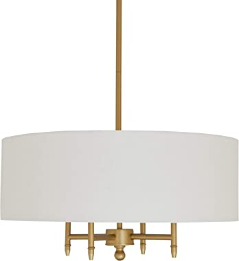Amazon Brand – Stone & Beam Classic Ceiling Pendant Chandelier Fixture With White Drum Shade- 20 x 20 x 42 Inches, Antique Br
