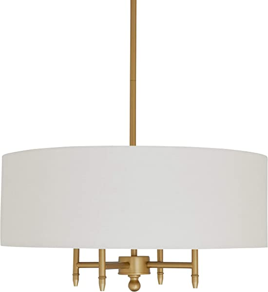 Stone Beam Classic Ceiling Pendant Chandelier Fixture With White Drum Shade 20 X 20 X 42 Inches Antique Brass