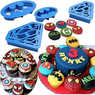 Tenflyer Batman and Superman Shaped Cookie Cutter Set - 4 Pieces,Blue
