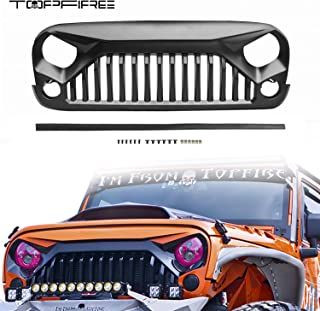 Topfire Upgraded Front Grill with Strip, Clips and Rivets for Jeep Wrangler Rubicon Sahara Sport JK/JKU 2007-2018 (Matte Black-without logo)