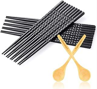 Tamodan Premium 10 Pairs Fiberglass Chopsticks, Reusable Chopsticks Dishwasher Safe & Non-slip Design Chop Sticks,Classic Black Chopsticks-9.4inches.