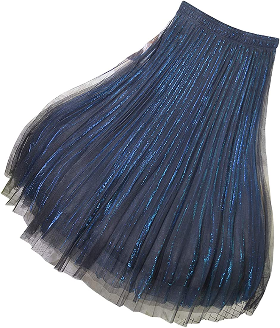 CHARTOU Women's Stretchy High Waist Pleated Metallic Shimmer Layered Puffy Tulle Skirt
