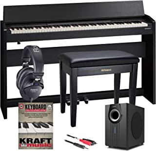 Roland F-140R Digital Piano - Contemporary Black with Bench, Subwoofer, Headphones, and Lesson Book