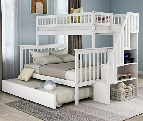 Amazon Com Twin Over Full Bunk Bed With Trundle And Stairway Wood Bunk Bed Frame With Storage Shelves For Kids Teens Can Separated To 3 Beds No Box Spring Needed White Kitchen