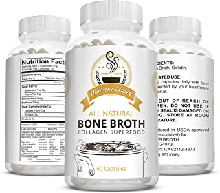 Wonder Broth: Collagen - All Natural Chicken Bone Broth Superfood (60 Ct) - Gelatin Promotes Hair and Nail Growth - Stronger Teeth and Can Prevent Cavities - May Reduce Cellulite - Chicken Broth