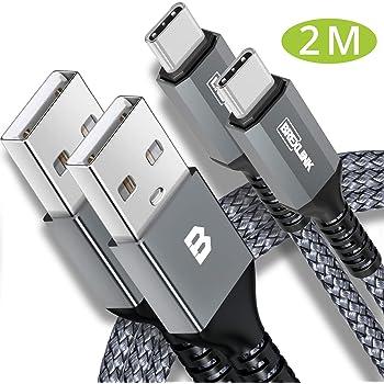 BrexLink USB Type C ケーブル 【2M/2本組/保証付き/グレー】 USB2.0 QuickCharge3.0対応 3A急速充電 高速データ転送 絡むことなく超耐久ナイロン編組 10000+回の曲折テスト タイプc ケーブル Switch、Macbook Pro、iPad Pro(2018/2020)、Sony、Huaweiその他アンドロイド各種、USB-C機器対応