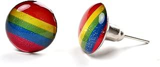 Colourful Rainbow Stainless Steel Unisex Stud Earrings