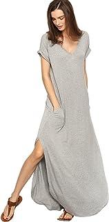 1c3a01e4d83b Verdusa Women s V Neck Side Pockets Split Hem Beach Long Maxi Dress