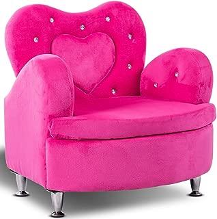 Costzon Kids Sofa, Toddler Ultra-Soft Velvet Armrest Chair Couch for Girls Bedroom Living Room, Children Furniture (Rose)