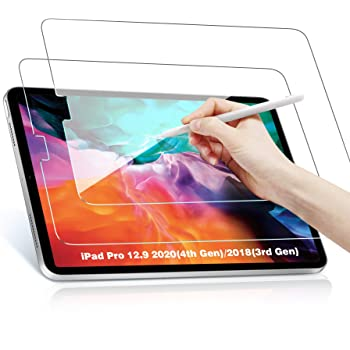 Benazcap Screen Protector for iPad Pro 12.9 2020/2018, [2 Pack] High Definition/Scratch Resistant/iPad Pencil Support 9H Tempered Glass Screen Protector for iPad Pro 12.9 3rd/4th Generation