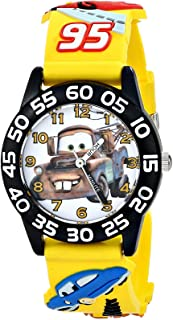 Disney Kids' W001508 Time Teacher Cars Watch With Yellow 3-D Band