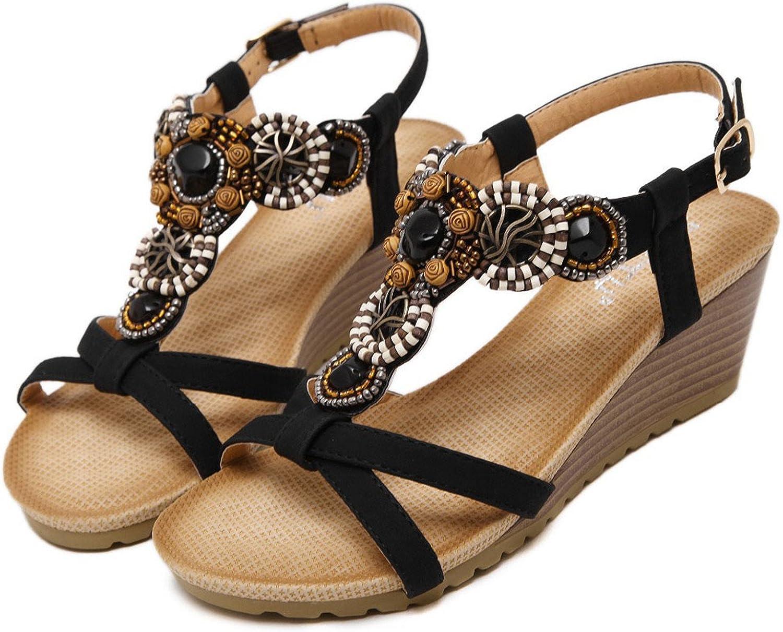 Huntty Bohemia Vintage Rhinestone Woman Flip Flops Beach Women shoes