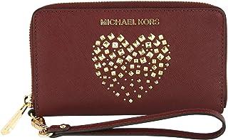 602abef1274b Michael Kors Large Flat Multifunctional Phone Case Zip Around Leather Wallet  (Merlot/Gold)