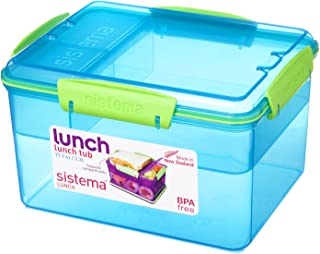 Sistema Lunch Tub To Go, 77.7 oz, 2.3L (Blue with Green Accents)